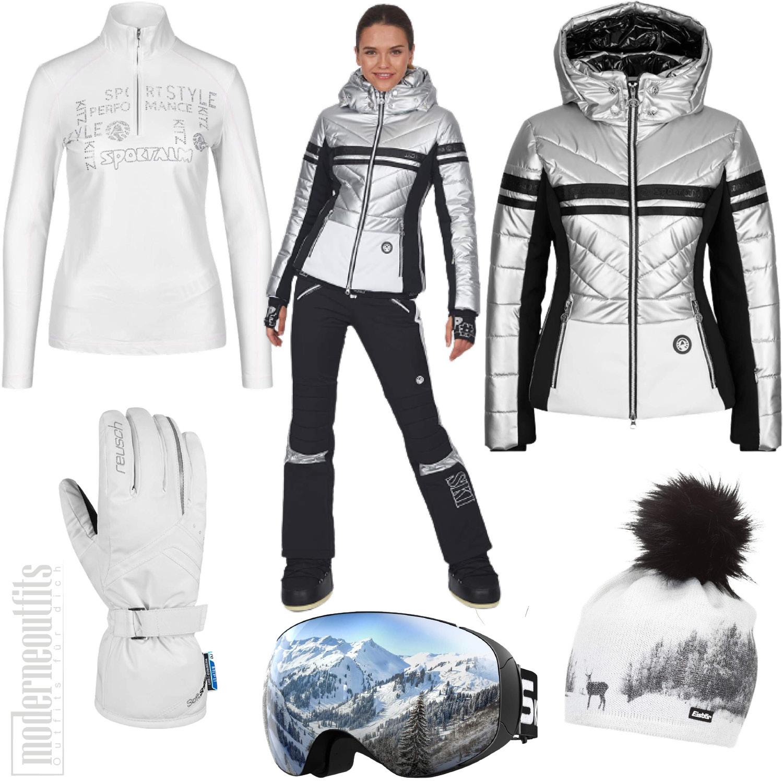 Skioutfit für Damen mit Skijacke, Hose und Skibrille