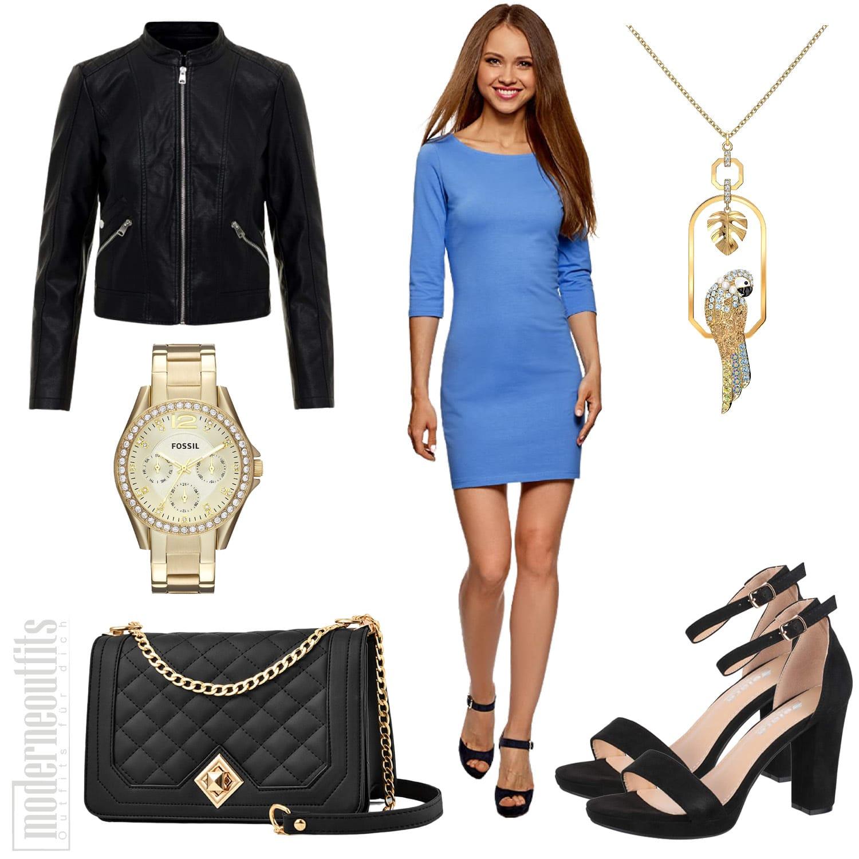 Damen Outfit in Hellblau mit Lederjacke und Kleid