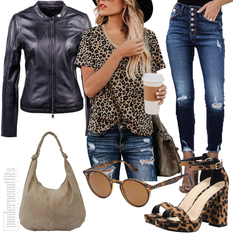 Damen Outfit in Leopard mit T-Shirt und Jeans