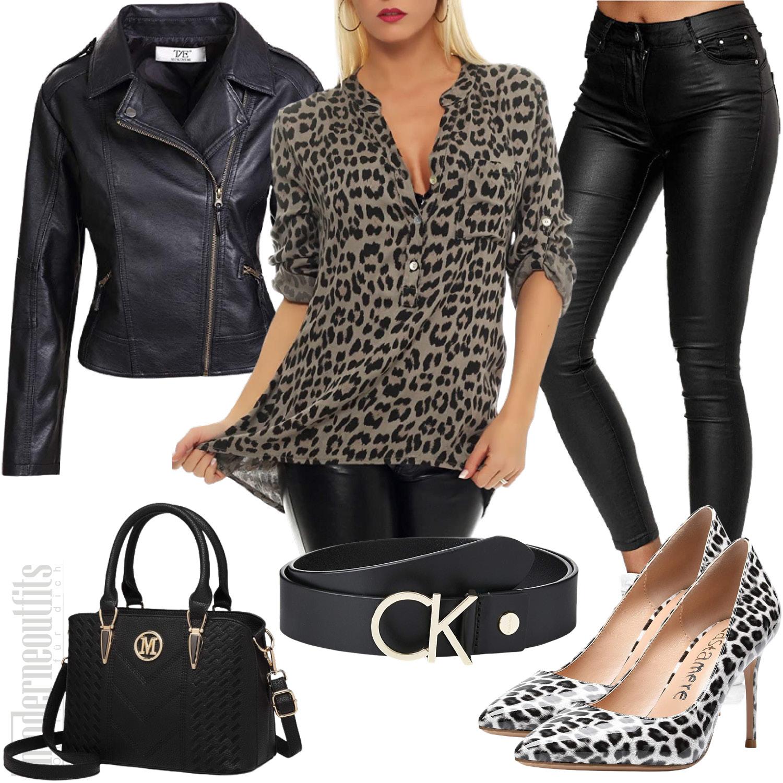 Damen Outfit in Leopard mit Bluse und Lederhose